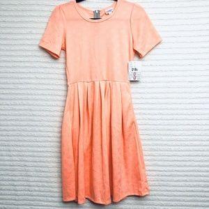 LuLaRoe Amelia Coral Dress Pleated Pockets